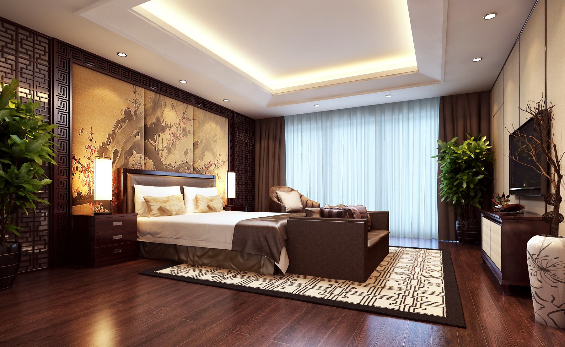 Modern brown bedroom 3d model max for Model bedroom interior design