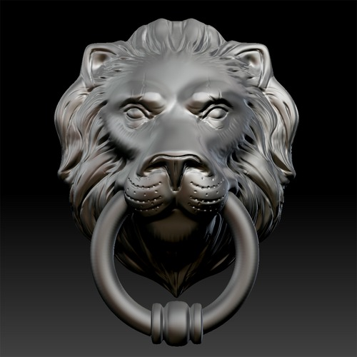 Lion head door knocker 3d model game ready max obj fbx ma mb ztl - Large lion head door knocker ...
