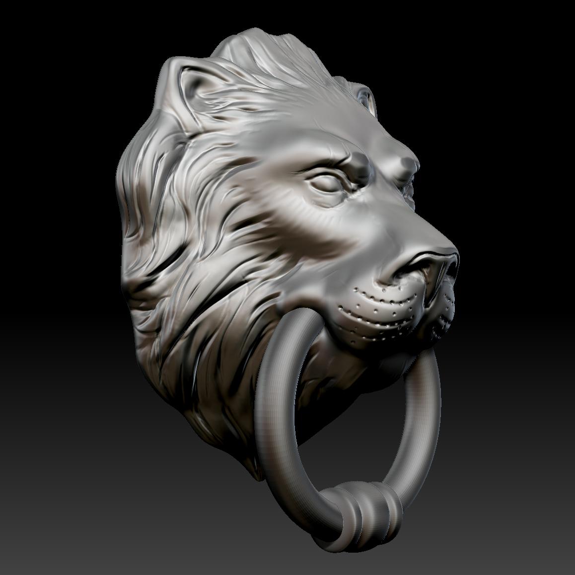 Lion Head Door Knocker 3d Model Game Ready Max Obj Fbx