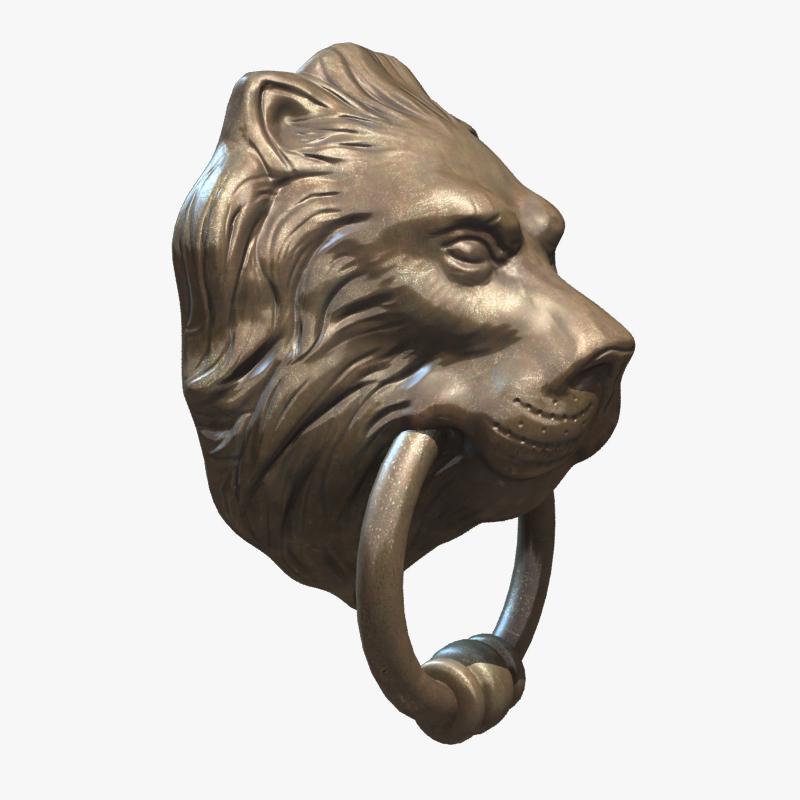 Lion head door knocker 3d model game ready max obj fbx ma mb ztl - Lion face door knocker ...