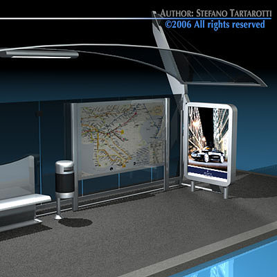 bus stop 3 3d model obj mtl 3ds c4d dxf 1