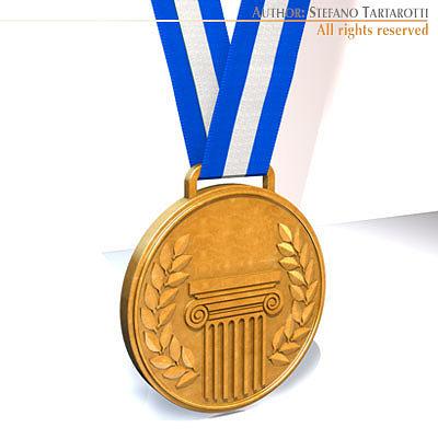 medal 3d model obj 3ds c4d dxf 1