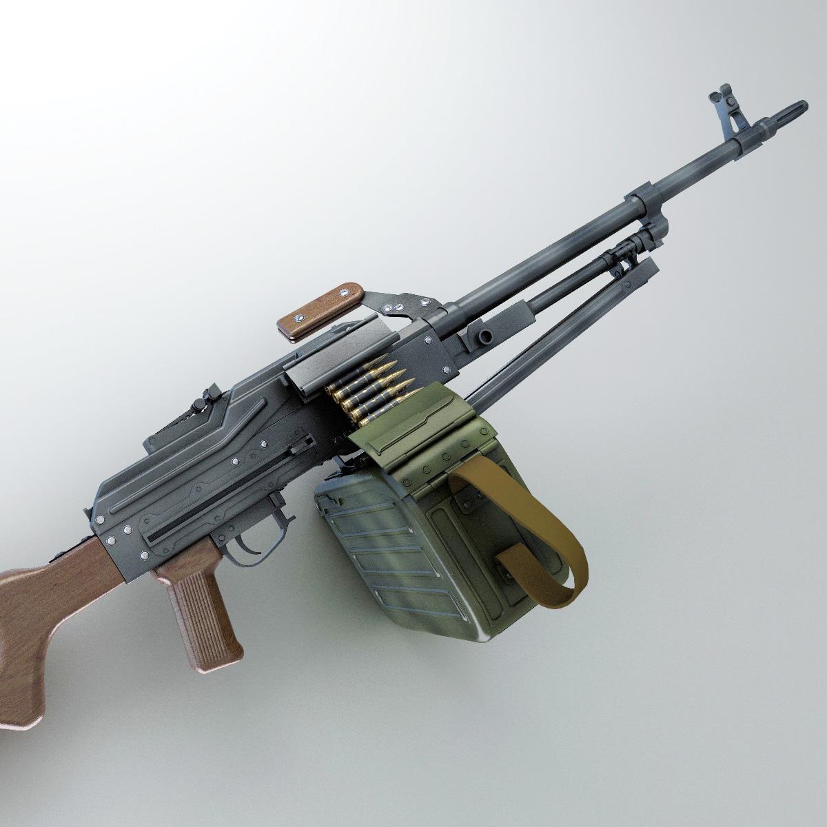 3d Gun Image 3d Home Architect: PK Machine Gun Hi-Res 3D Model MAX OBJ FBX LWO LW LWS MA