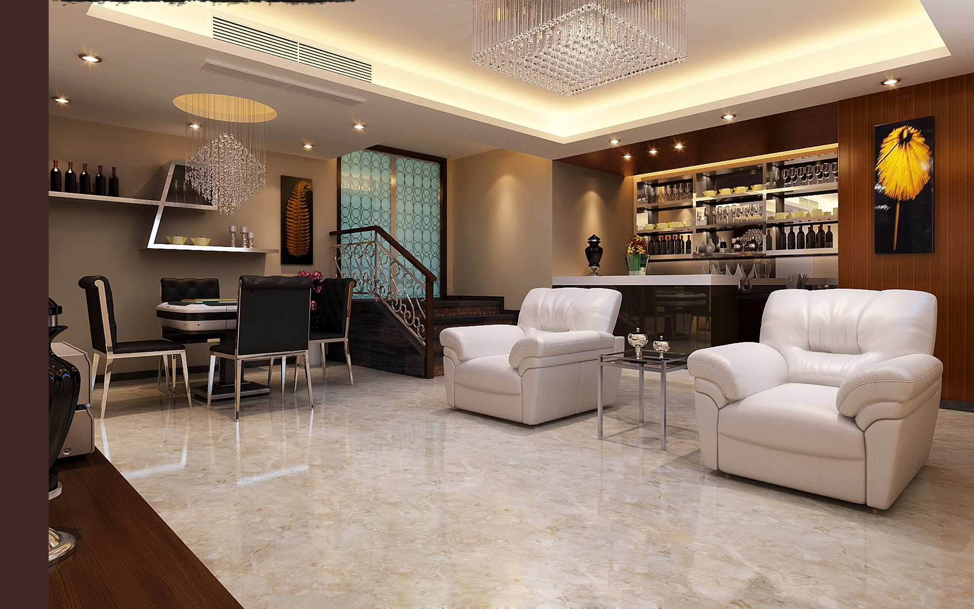 Modern living room with bar 3d model max 1