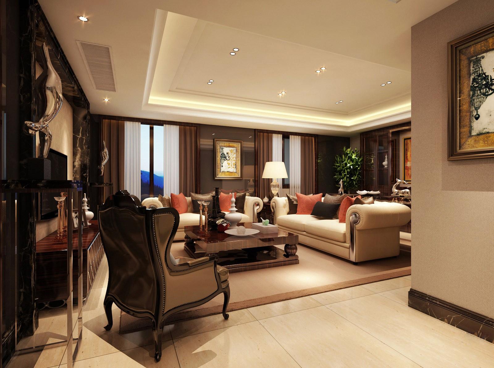 Modern Living Room Fully Furnished 3d Model Max 1 Amazing Design