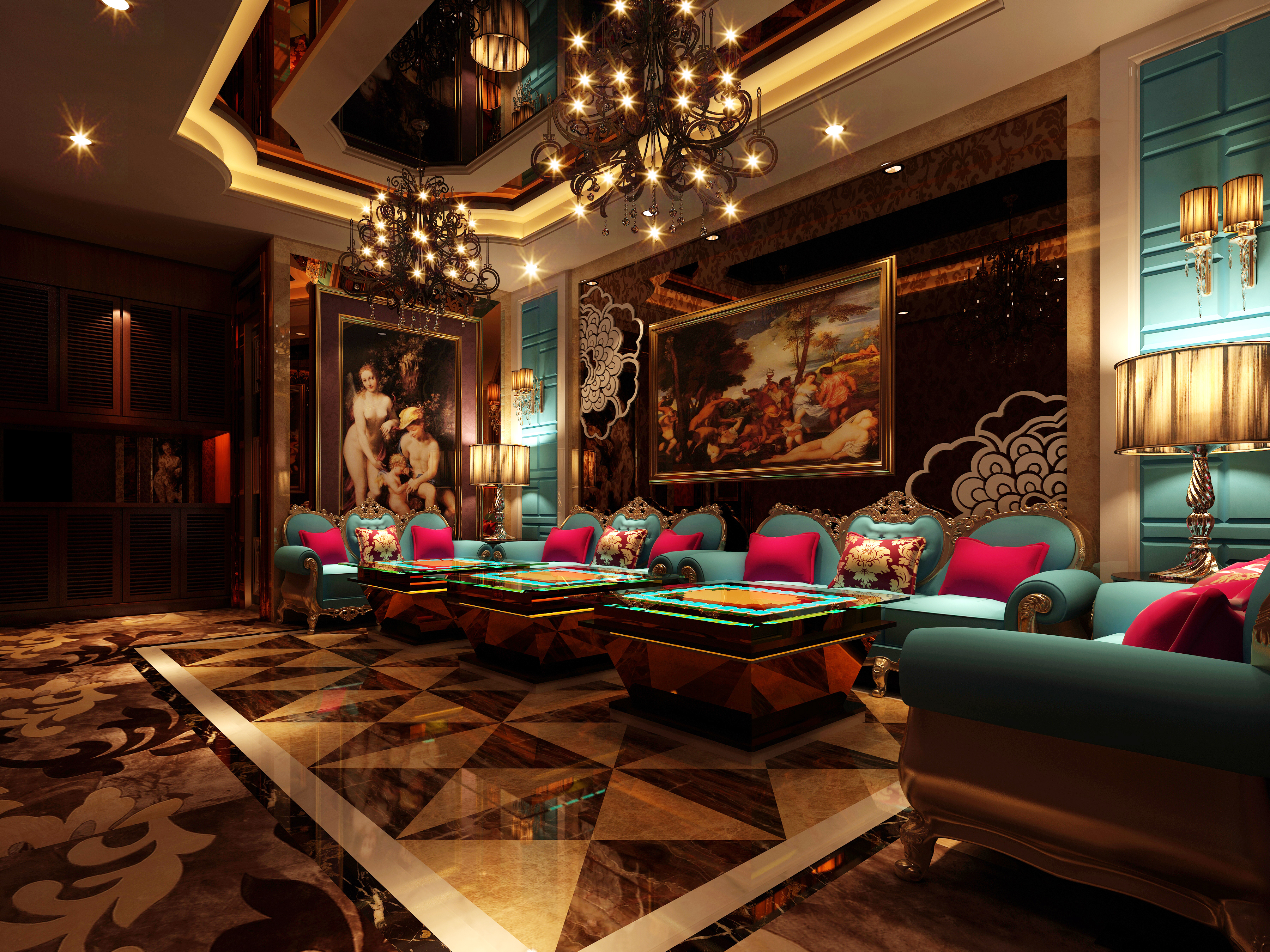 Luxurious restaurant vip lounge d model max cgtrader