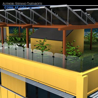 Ecological building cutaway3D model