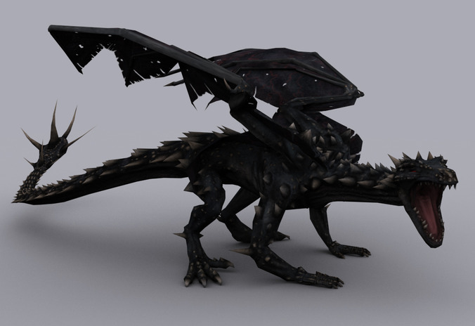 MOUNTAIN DRAGON GAME READY ANIMATED MODEL3D model