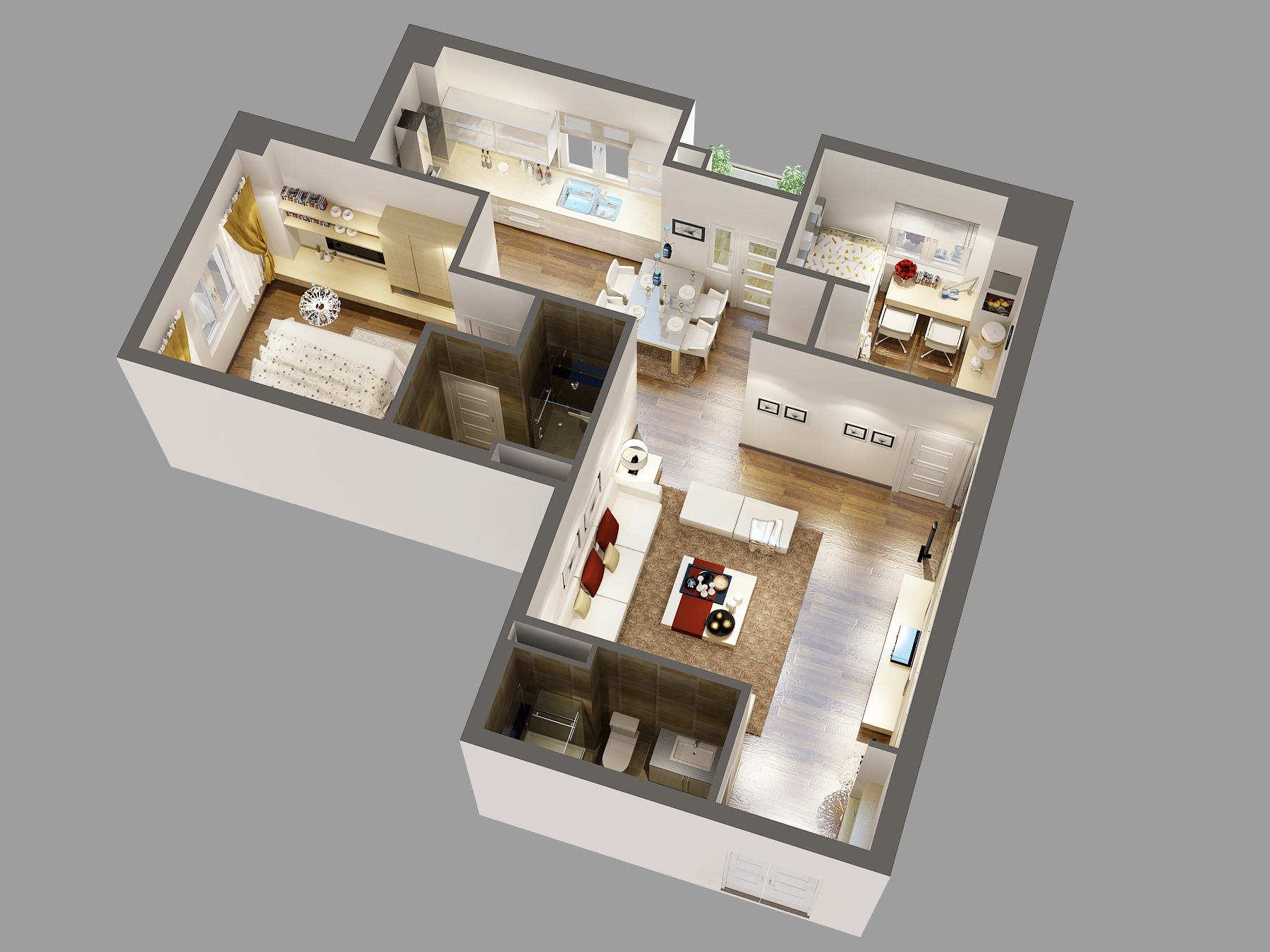 Three Bedroom Apartment Floor Plans Detailed House Cutaway 3d Model 3d Model Max Cgtrader Com