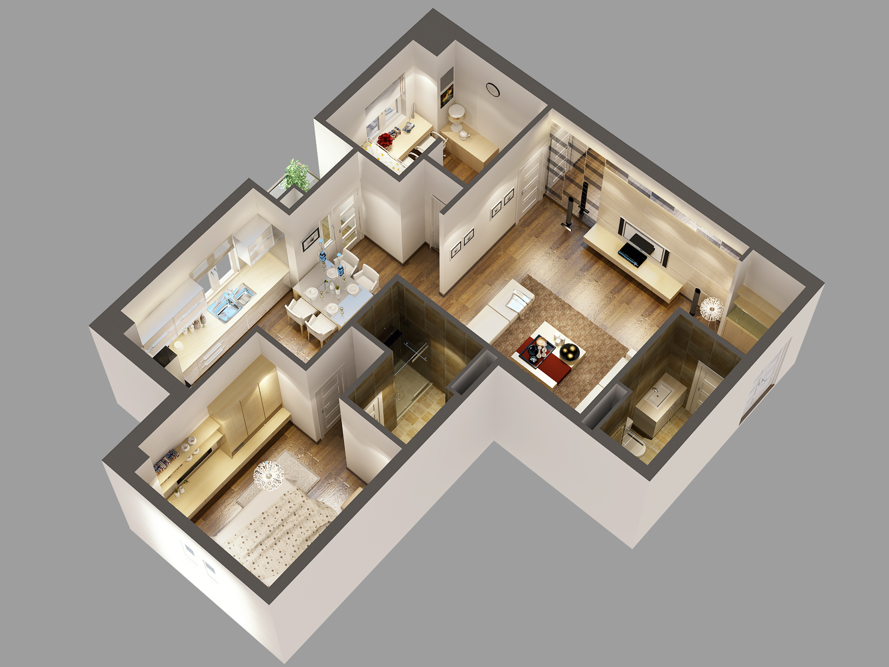 Detailed house cutaway 3d model 3d model max for Home design website free