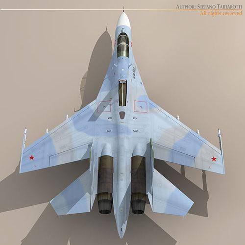 su-27 flanker camo2 3d model obj 3ds fbx c4d dxf dae 1