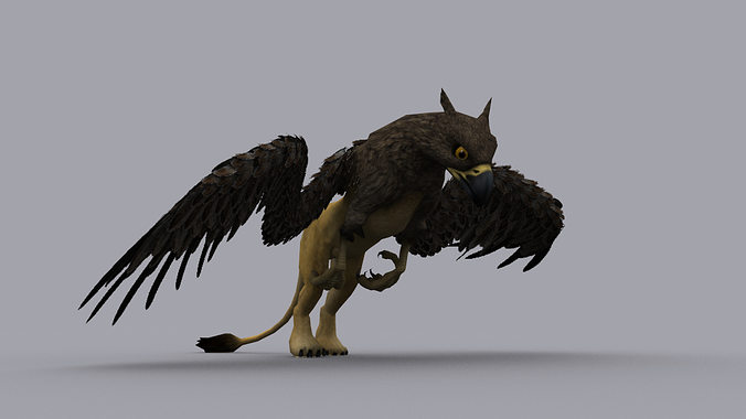 griffon game ready animated model 3d model low-poly max fbx tga 1