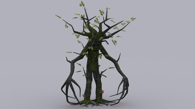 OAK TREE ENT GAME READY ANIMATED MODEL3D model