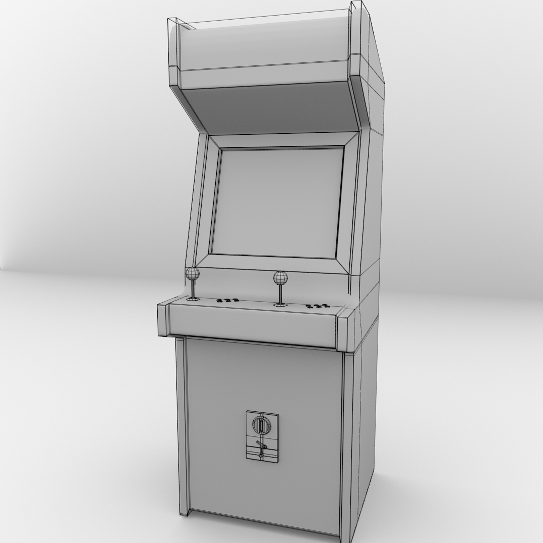 Naked Kitchen Cabinet Doors: Arcade Machine 3D Model .3ds .fbx .blend .dae