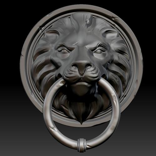 Lion head door knocker 3d model ztl - Large lion head door knocker ...