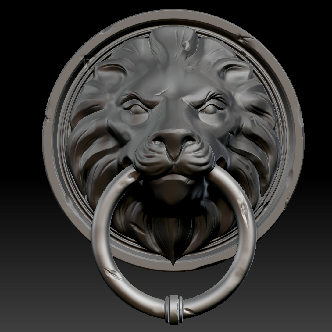 Lion head door knocker 3d model ztl - Lion face door knocker ...