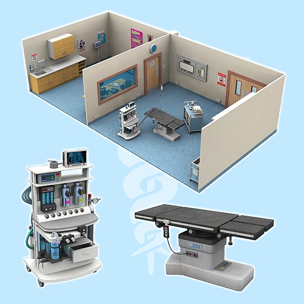 The operating theatre for poser 3d model pz3 pp2 for Theatre model