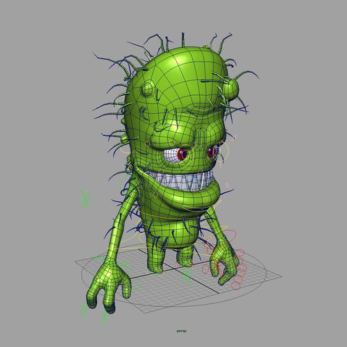 Bacteria 1 rigged 3d model