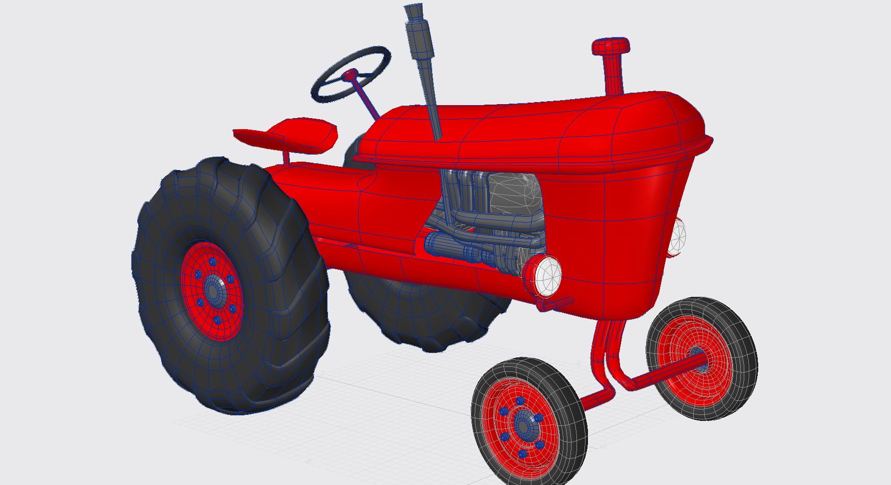 Vintage Tractor Cartoon : Vintage red tractor for farming d model max obj ds