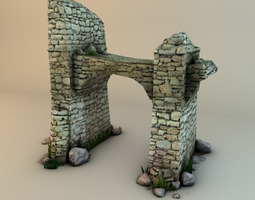 3D model Ruins with plants and rocks