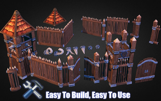wooden fortress builder pack 3d model low-poly max obj mtl 3ds fbx dxf dwg 1