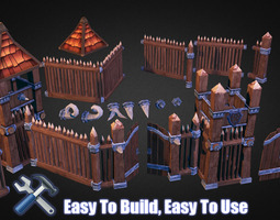 Wooden Fortress Builder Pack 3D Model