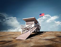 beach lifeguard station 3d model max obj 3ds fbx dxf