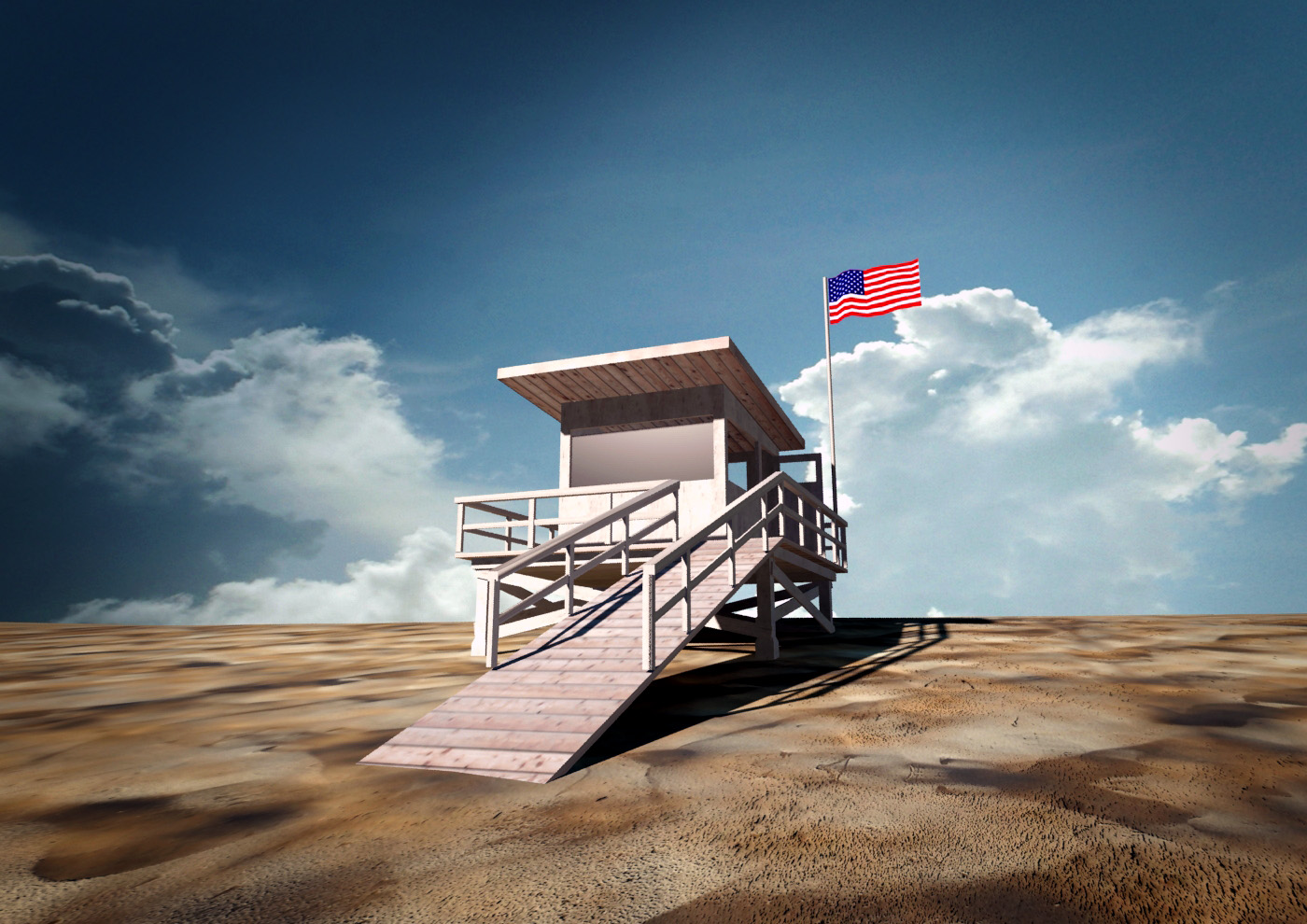 Beach Lifeguard Station 3d Model Game Ready Max Obj 3ds
