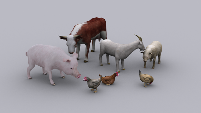 3d Model Farm Animals Pack Game Ready Animated Models Vr