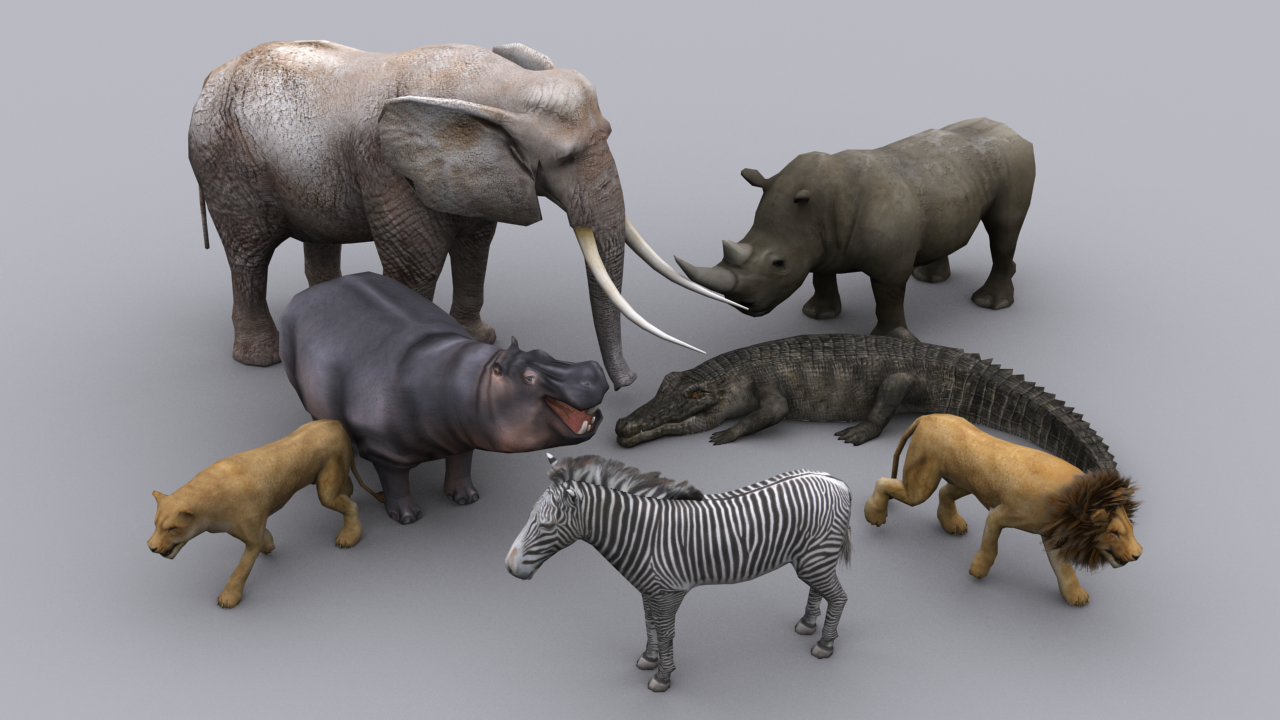 3d model african animals pack game ready animated models vr ar african animals pack game ready animated models 3d model low poly max 1 voltagebd Images