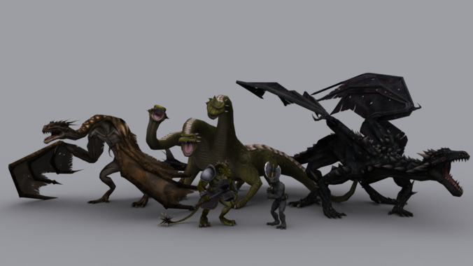 FANTASY LIZARDS PACK GAME READY ANIMATED M...3D model