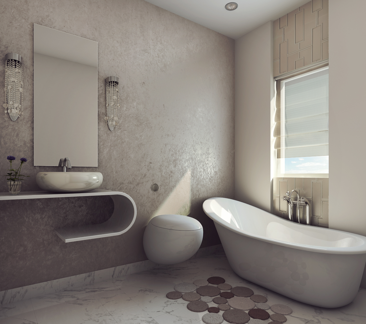Modern Earthy Design Bath Room Free 3d Model Max