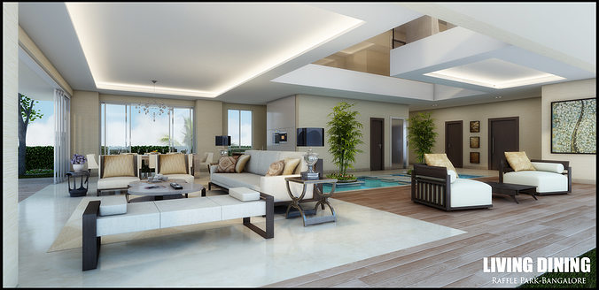 modern white living room with waterpool 3d model max 1
