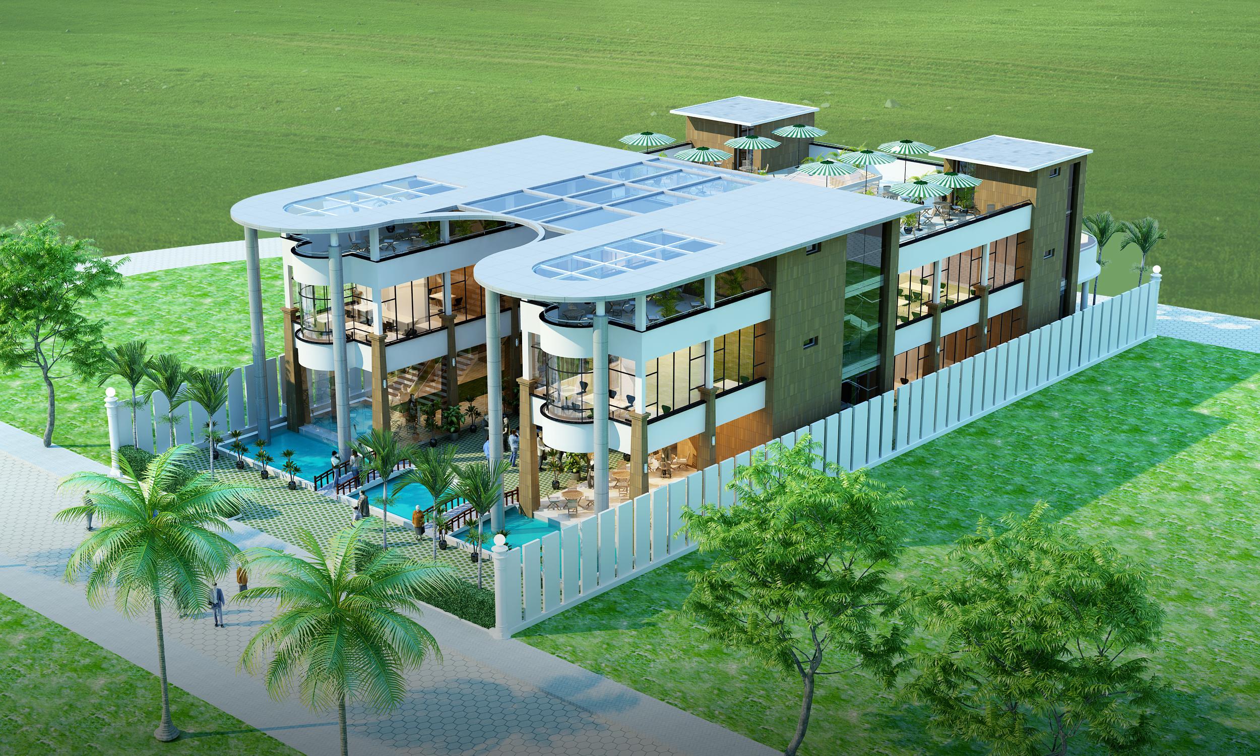 ... Restaurant Building With Interior 3d Model 3d Model Max Obj Mtl ...