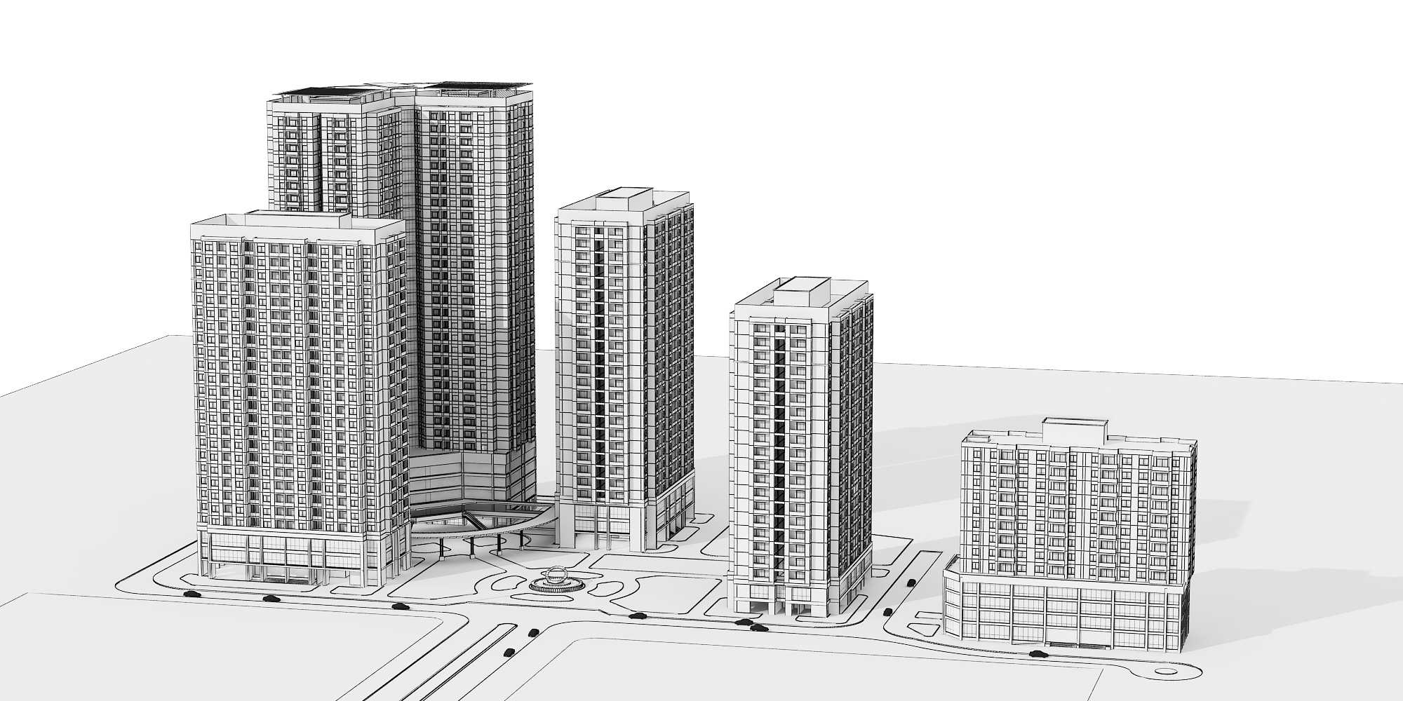 Detailed High Rise Building Complex 3d Model 3d Model Max