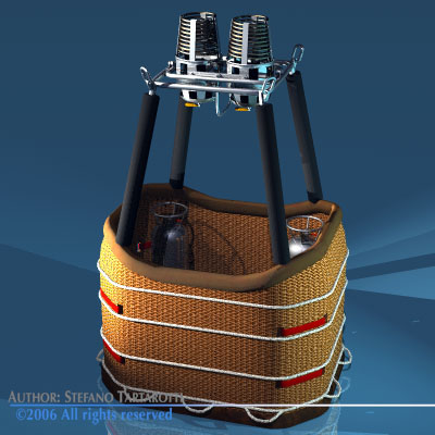 Balloon basket and gas tank 3D Model .obj .3ds .dxf ...