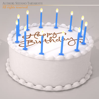 Birthday cake 3d model obj 3ds c4d dxf for 3d printer cake decoration