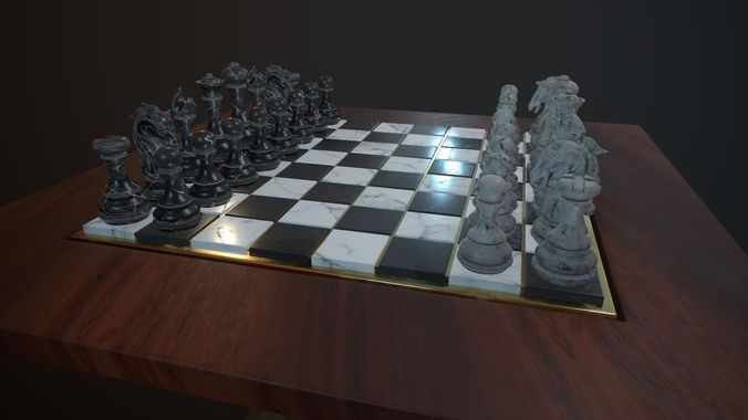 chess and checker board game 3d model low-poly fbx tga 1
