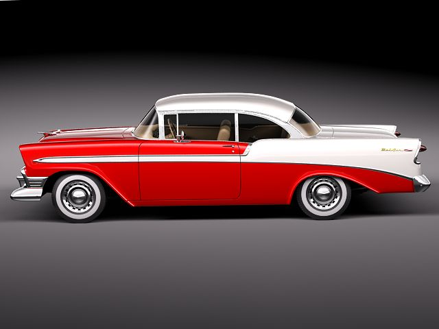 chevrolet bel air 1956 hardtop coupe 3d model max obj. Black Bedroom Furniture Sets. Home Design Ideas