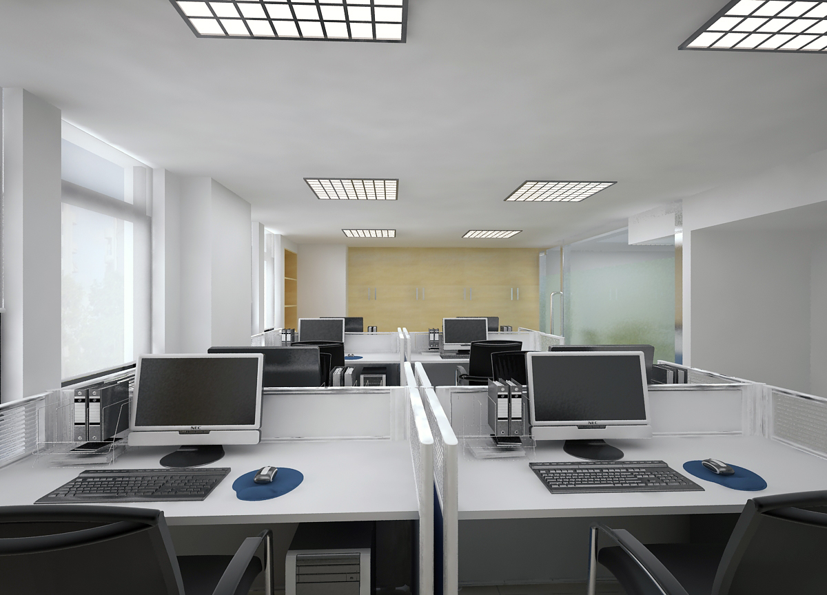 3d models detailed office interior scene 3d model max for Office design 3d