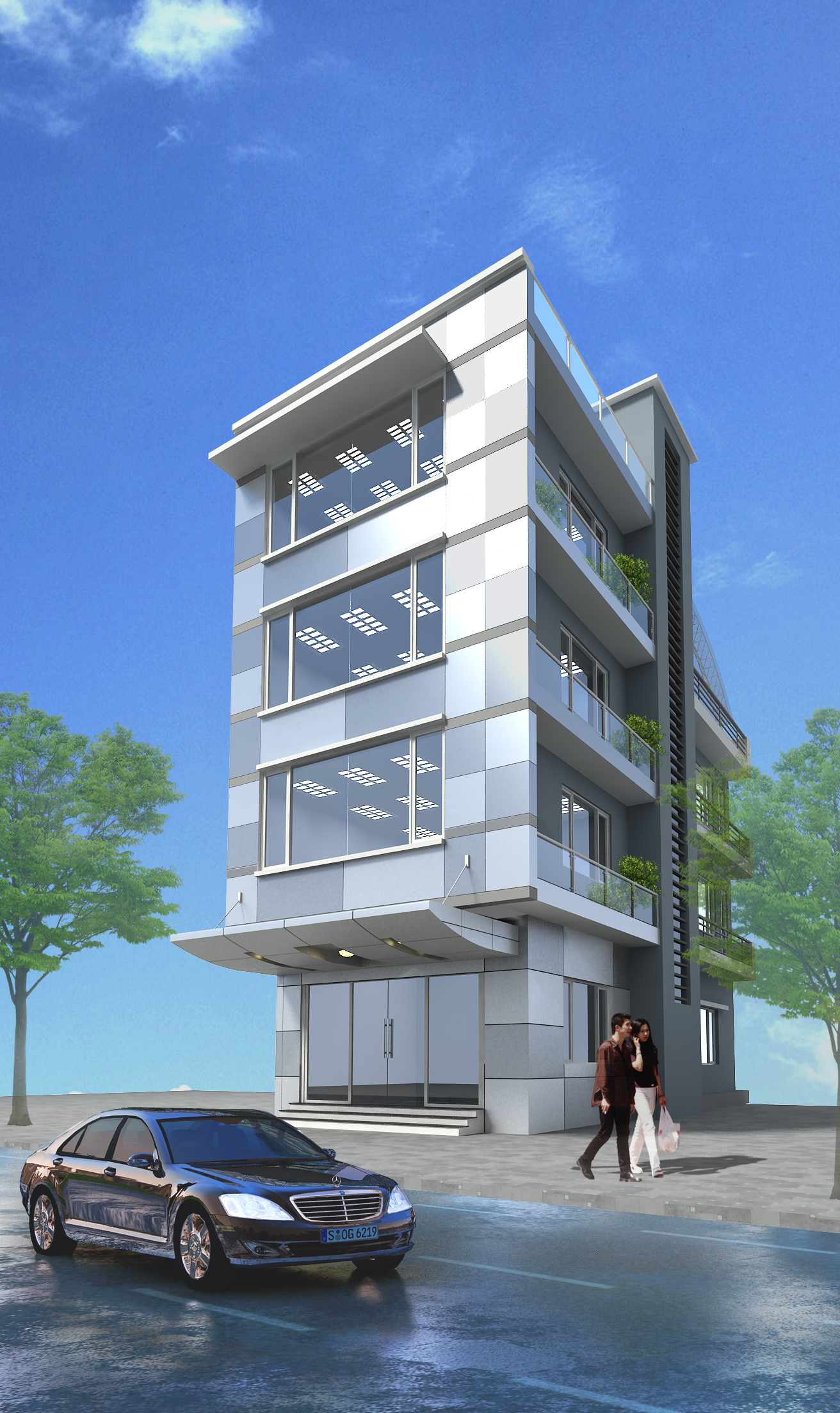 3d models small office building free 3d model max obj for Small office building design plans