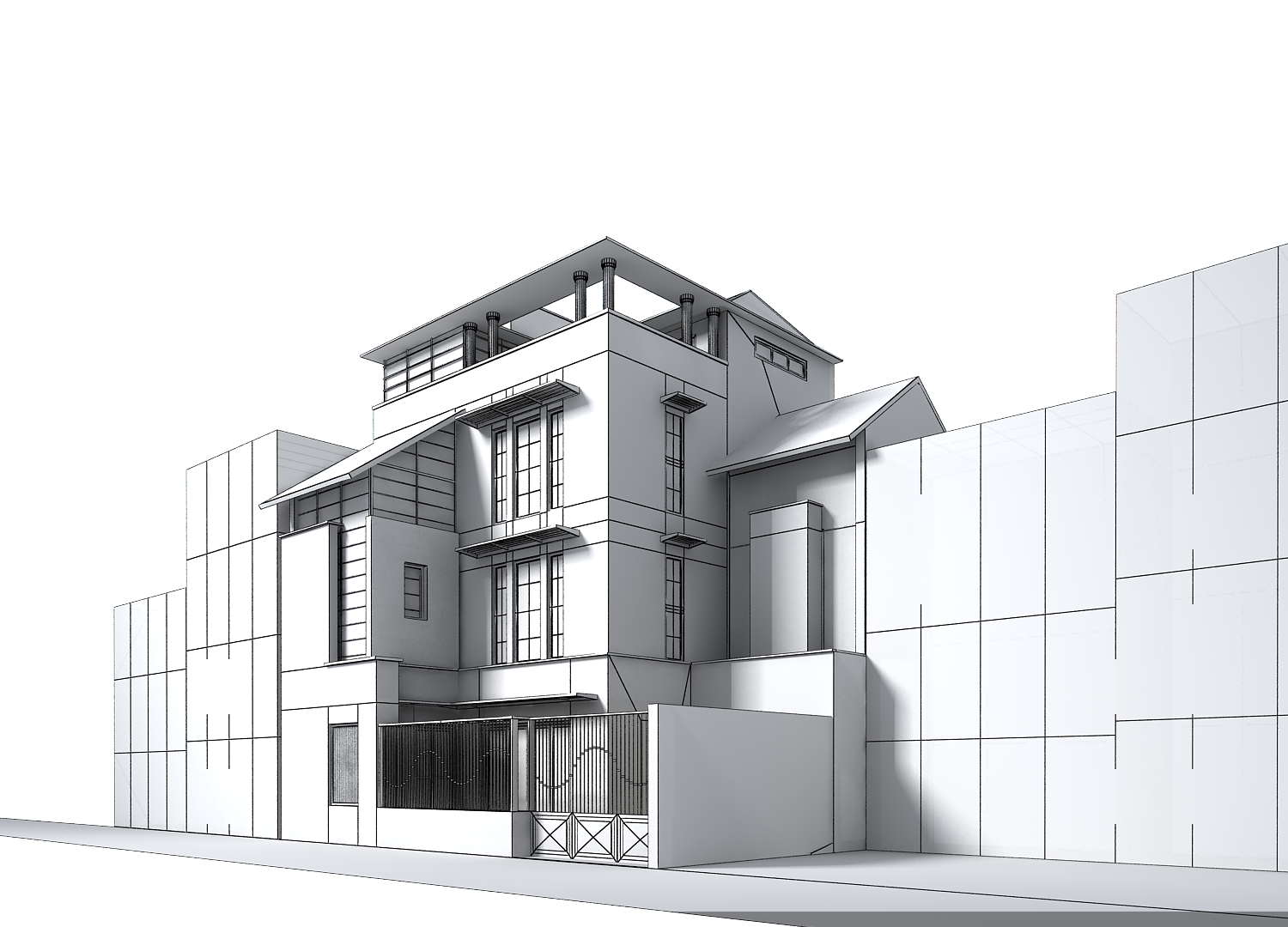 Contemporary multi story house 3d model max obj 3ds House 3d model