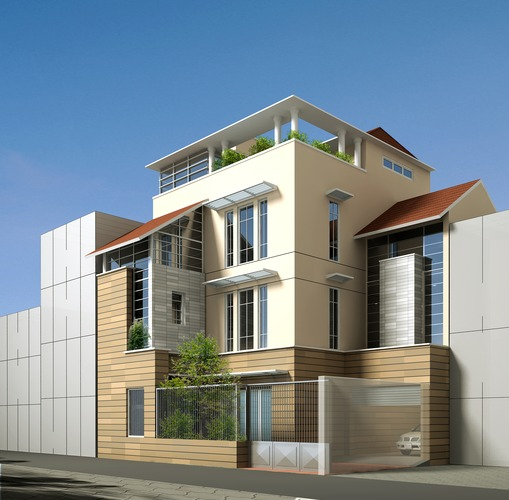 Contemporary multi story house 3d model max obj 3ds 3d house building