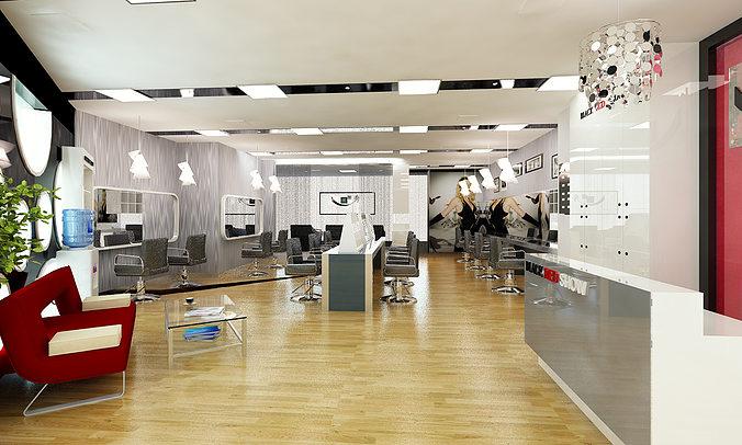 barber shop or beauty salon interior 3d model max 1