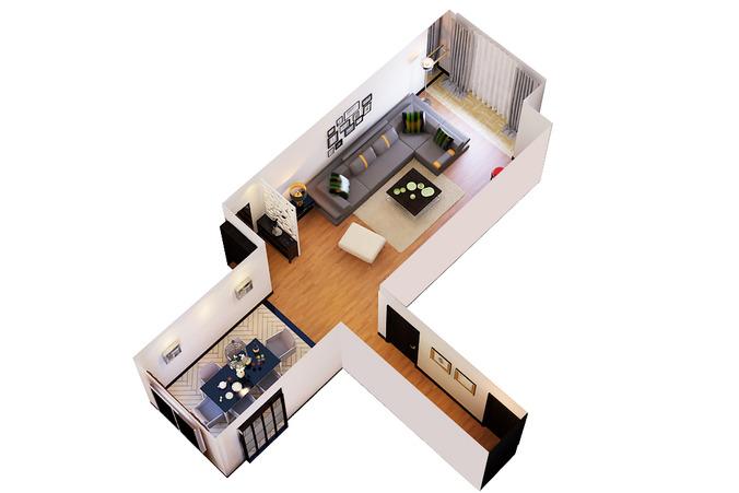 Living Dining Room Cutaway3D model