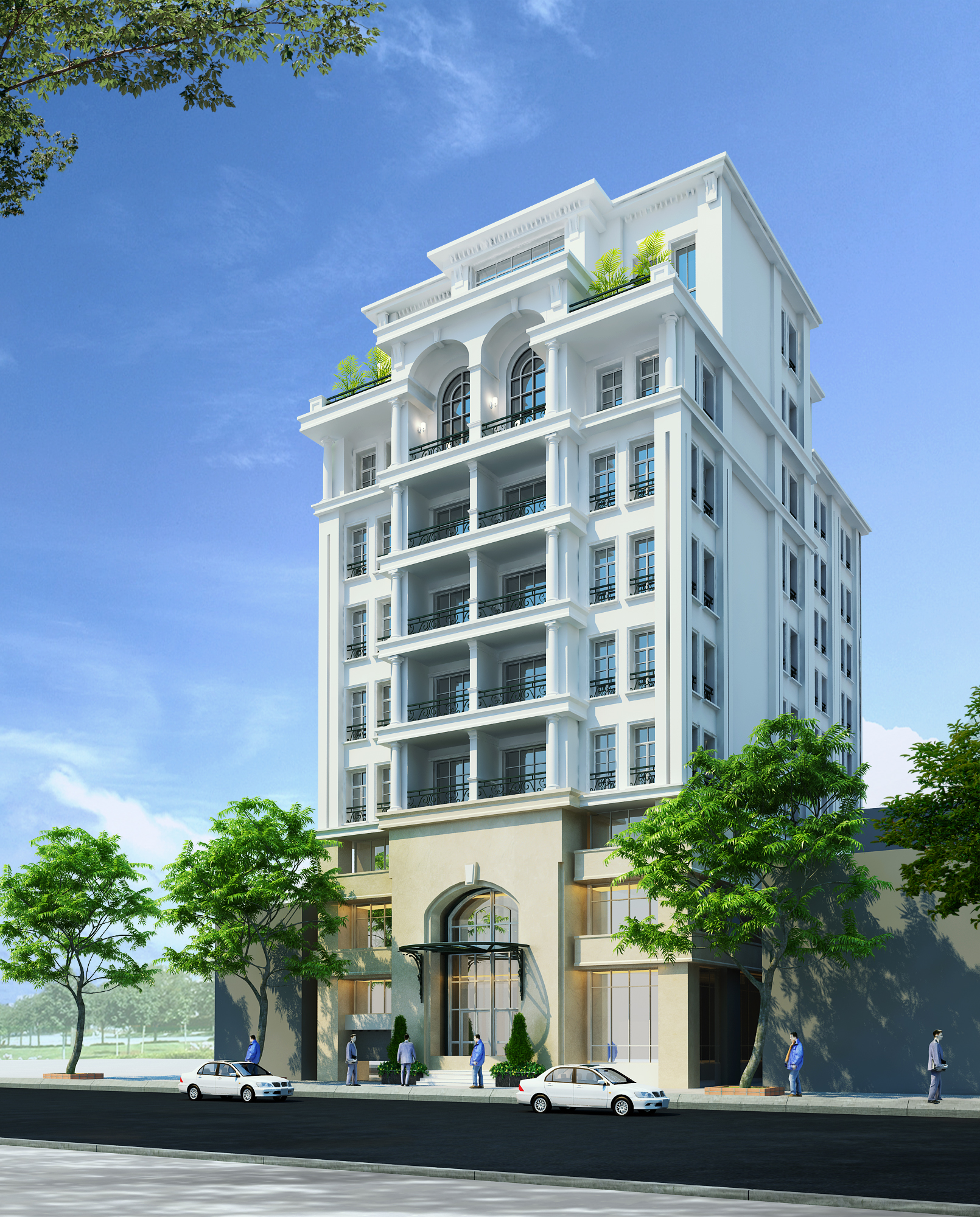 Detailed neoclassical apartment building 3d model max for 3d house builder online