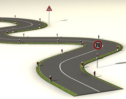 3d model road with curves