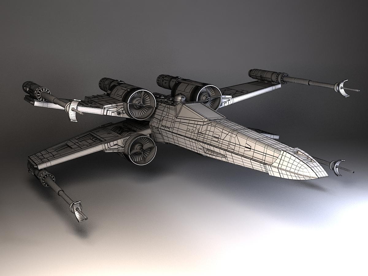 star wars x wing fighter 3d model max obj 3ds fbx c4d lwo. Black Bedroom Furniture Sets. Home Design Ideas