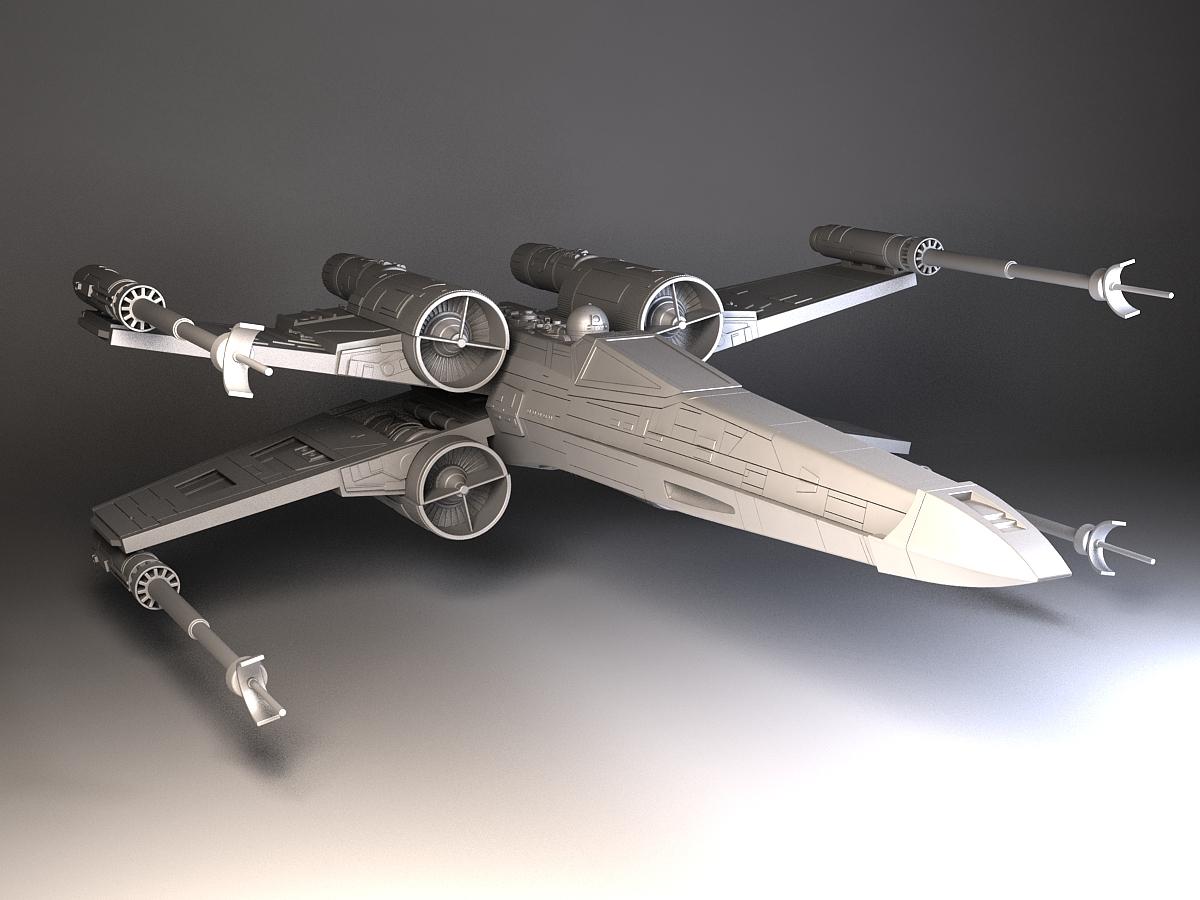 star wars x wing fighter 3d model max obj 3ds fbx c4d. Black Bedroom Furniture Sets. Home Design Ideas