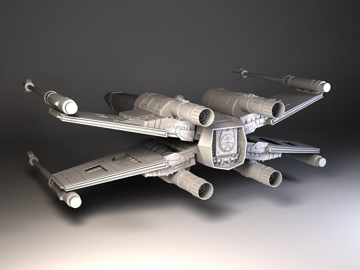 star wars x wing fighter 3d model max obj 3ds fbx c4d lwo. Black Bedroom Furniture Sets. Home Design Ideas
